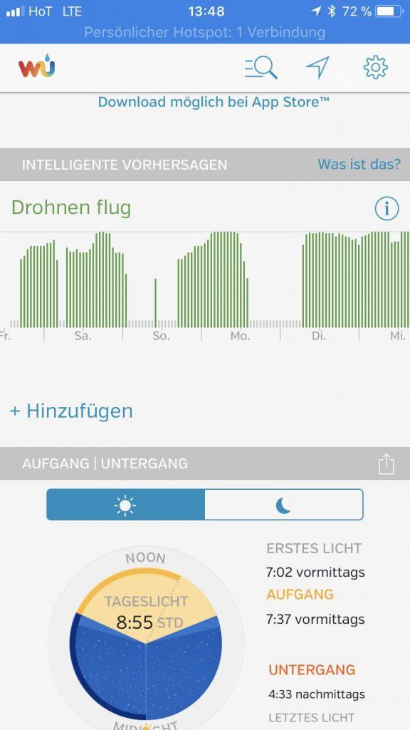 lost in drones - wetter app - drohnen fliegen - Weather underground 1